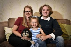 LOOKING FORWARD TO NEW TERM: Kelly Dunn and her teenage son Bobby and five-year-old daughter Darcey.