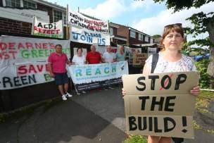 Protesters against the Goldthorpe site