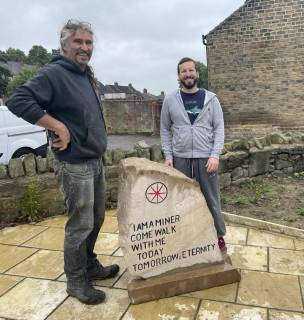 Andrew Vickers and Chris Fox (r) with the Mining Landmark Heritage Stone
