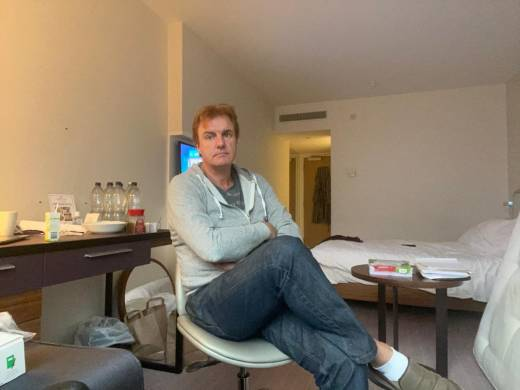 Peter Firth in his hotel room